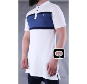 Polo manches courtes Qaba'il blanc et bleu