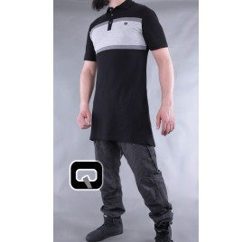 Polo manches courtes Qaba'il noir et gris