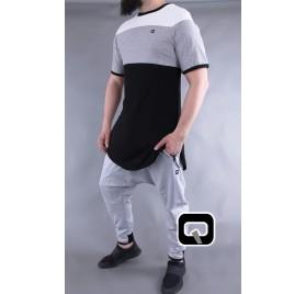 T-shirt manches courtes Qaba'il noir, gris et blanc