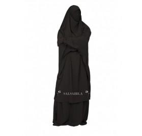 Jilbab 2 Pièces jupe royal coréen Noir