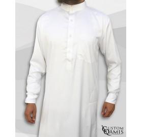 Qamis Saoudien Blanc mat tissus Precious Custom Qamis
