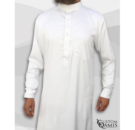 Qamin Saoudien Blanc mat tissus Precious Custom Qamis