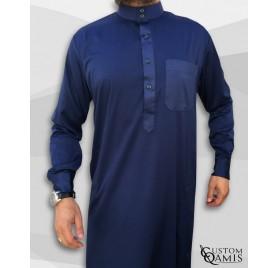 Qamin Saoudien Bleu marine tissus Precious Custom Qamis