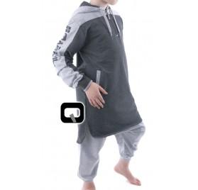 Qamis court enfant à capuche gris anthracite Qaba'il