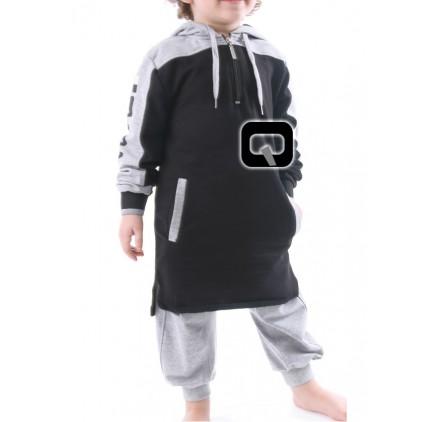 Qamis court enfant à capuche Noir