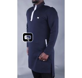 Qamis court boss bleu nuit & gris clair