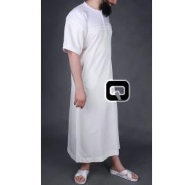 Qamis long Navy blanc cassé & blanc