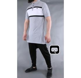 Polo manches courtes Qaba'il gris et blanc