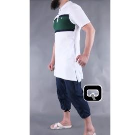 Polo manches courtes Qaba'il blanc et vert
