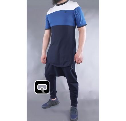 T-shirt manches courtes Qaba'il bleu nuit, bleu indigo et blanc