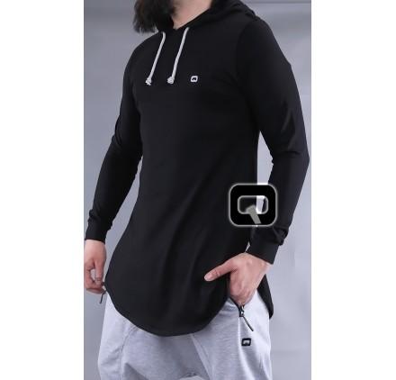 T-shirt manches longues à capuche Qaba'il noir