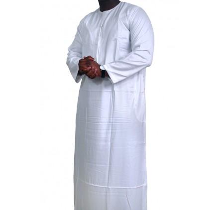 Qamis Omani tissu korean ( glacés ) Blanc