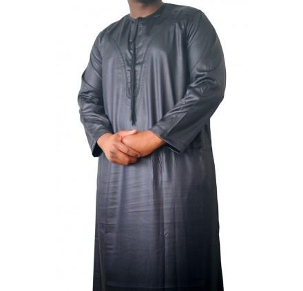Qamis Omani tissu korean ( glacés ) Noir