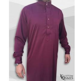 Qamin Saoudien Bordeaux tissus Precious Custom Qamis