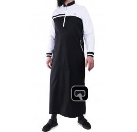 Qamis long classique noir et blanc Qaba'il