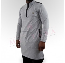 Qamis court boss gris clair & noir